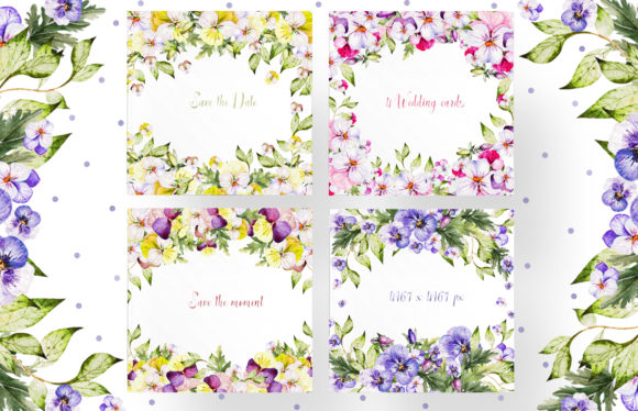 Watercolor Pansy Flowers Graphic Objects By Knopazyzy - Image 8