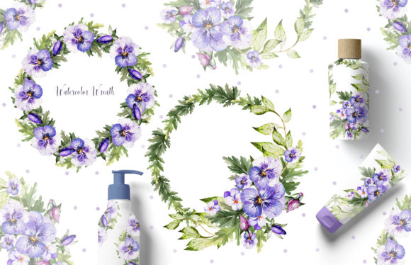 Watercolor Pansy Flowers Graphic Objects By Knopazyzy - Image 9