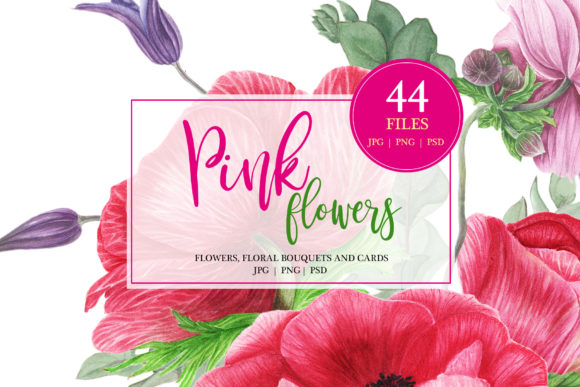 Print on Demand: Watercolor Pink Flowers Graphic Illustrations By tpushnaya