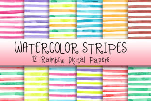 Print on Demand: Watercolor Stripes Digital Papers Graphic Backgrounds By PinkPearly