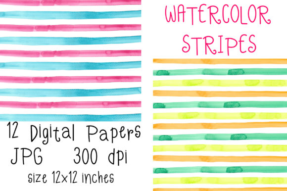 Watercolor Stripes Digital Papers Graphic Backgrounds By PinkPearly - Image 2