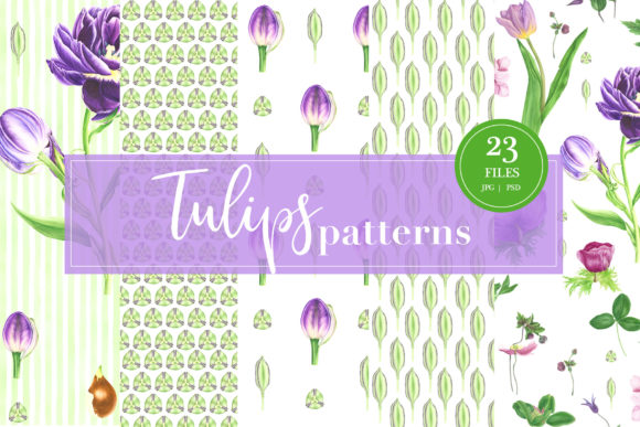 Print on Demand: Watercolor Tulips Patterns Graphic Patterns By tpushnaya