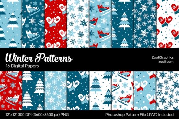 Winter Digital Papers Graphic Patterns By ZoollGraphics