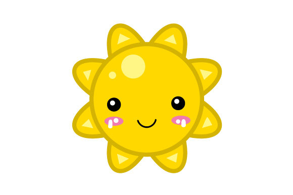 Sun Kawaii Design Diseños y Dibujos Archivo de Corte Craft Por Creative Fabrica Crafts