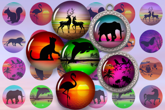 Animals Silhouettes Landscape Images Graphic Crafts By denysdigitalshop - Image 1