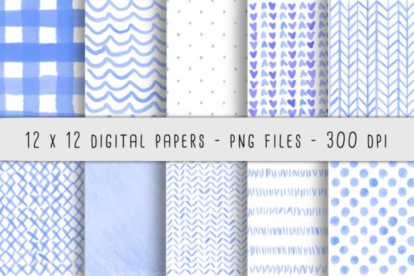 Print on Demand: Blue Watercolor Patterns Gráfico Fondos Por RoughDraftDesign