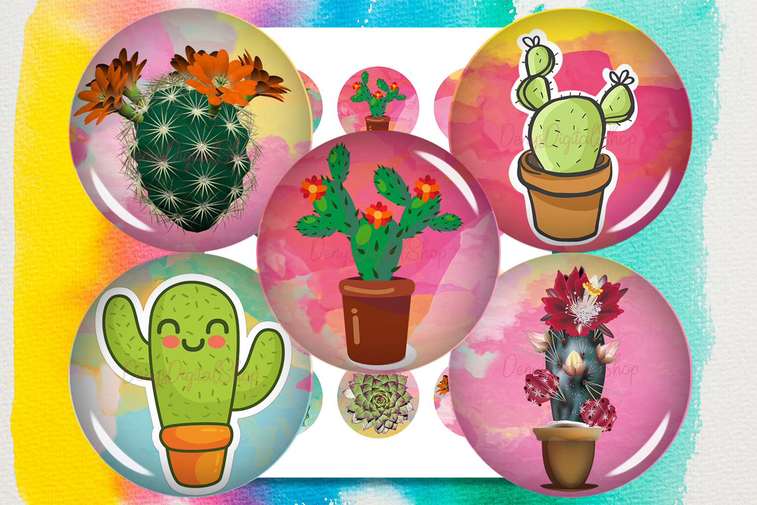 Download Free Cactus Succulents Digital Collage Sheet Graphic By for Cricut Explore, Silhouette and other cutting machines.