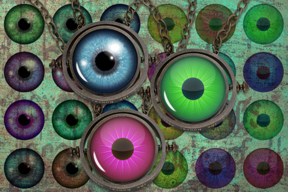 Download Free Colourful Eyes Digital Collage Sheet Graphic By Denysdigitalshop for Cricut Explore, Silhouette and other cutting machines.