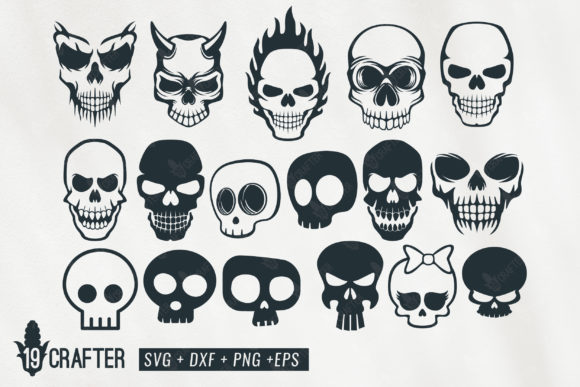 Download Free Cute And Spooky Skull Bundle Graphic By Great19 Creative Fabrica for Cricut Explore, Silhouette and other cutting machines.