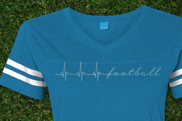 Football Heartbeat Redwork Sports Embroidery Design By DesignedByGeeks - Image 1