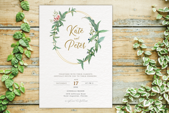 Download Free Greenery Wedding Invitation Template Set Graphic By Designitfor SVG Cut Files