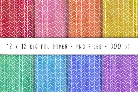 Print on Demand: Herringbone Watercolor Digital Paper Graphic Backgrounds By RoughDraftDesign