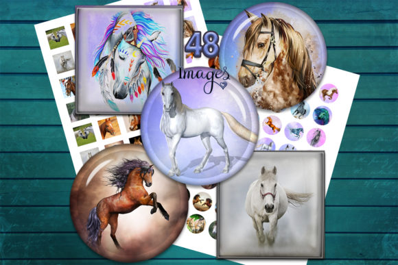 Horses Digital Collage Sheets Graphic Crafts By denysdigitalshop - Image 1