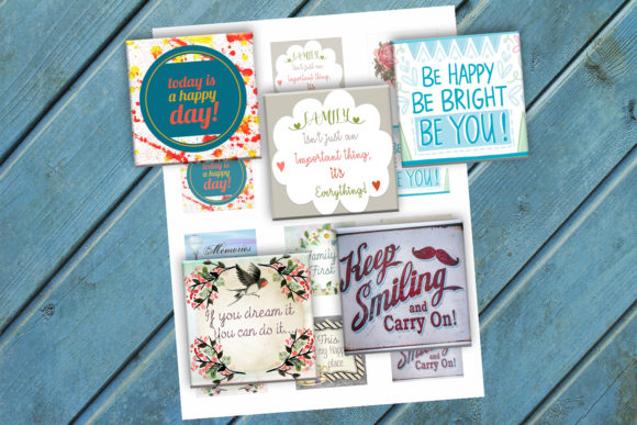 Download Free Inspirational Quotes Printable Squares Graphic By Denysdigitalshop Creative Fabrica for Cricut Explore, Silhouette and other cutting machines.