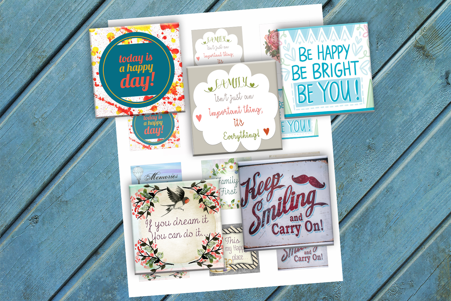 Download Free Inspirational Quotes Printable Squares Graphic By for Cricut Explore, Silhouette and other cutting machines.