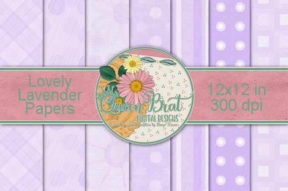 Print on Demand: Lovely Lavender Papers Graphic Backgrounds By QueenBrat Digital Designs