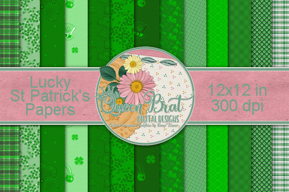 Print on Demand: Lucky St Patrick Papers Graphic Backgrounds By QueenBrat Digital Designs