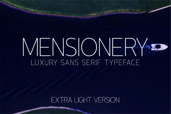 Print on Demand: Mensionery Extra Light Sans Serif Font By Huntype