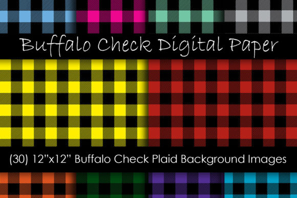 Multi-Color Buffalo Check Plaid Patterns Grafik Muster von GJSArt