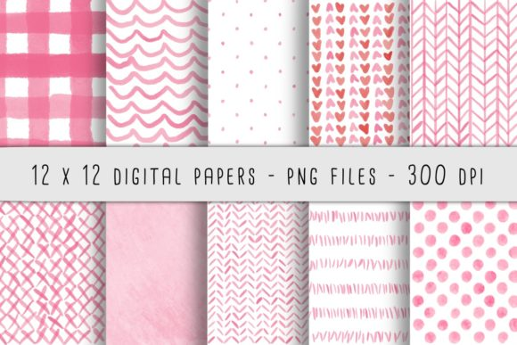 Print on Demand: Pink Watercolor Patterns Graphic Backgrounds By RoughDraftDesign - Image 1