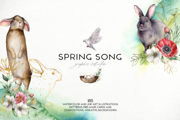 Spring Song Graphic Collection Gráfico Ilustraciones Por y.derbisheva
