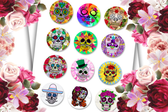 Sugar Skulls Digital Collage Sheet Graphic Crafts By denysdigitalshop - Image 2