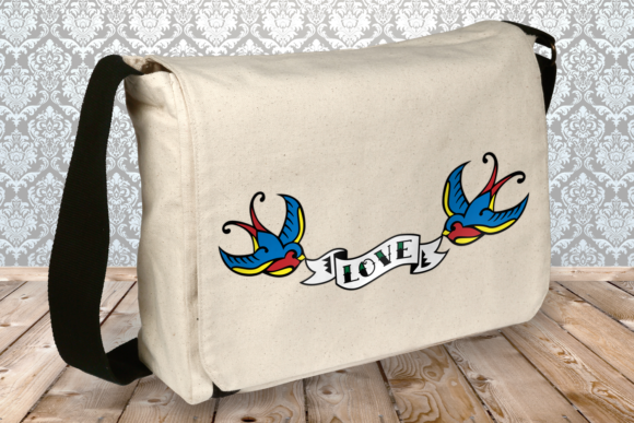 Swallow Tattoo with Love Banner Graphic Crafts By RisaRocksIt - Image 2