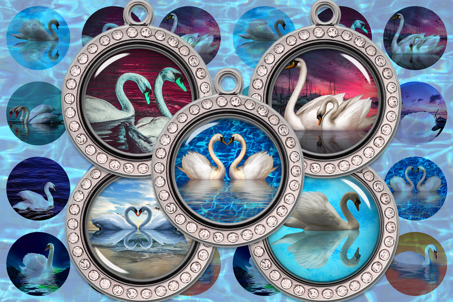 Download Free Swan Digital Collage Sheet Swans Images Graphic By for Cricut Explore, Silhouette and other cutting machines.