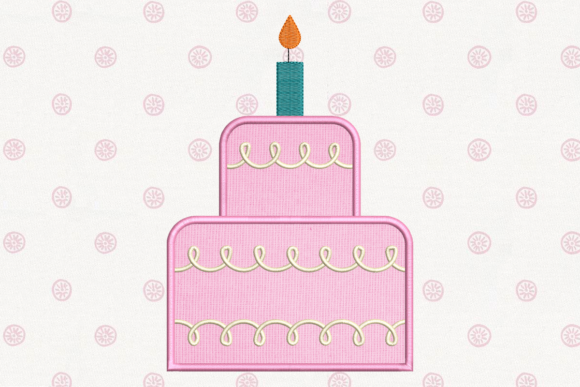 Tiered Cake with Candle Applique Birthdays Embroidery Design By DesignedByGeeks - Image 1