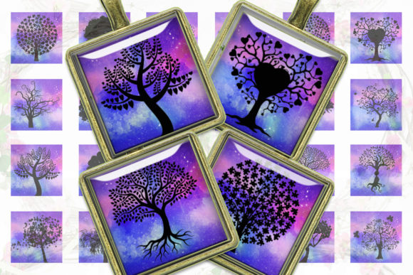 Tree Silhouettes Tree Printable Squares Graphic Crafts By denysdigitalshop