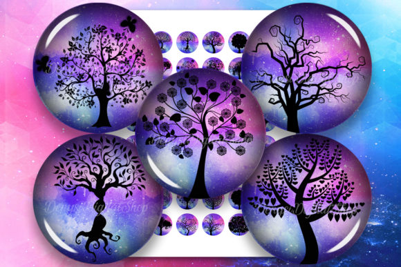 Tree Silhouettes Tree of Life Printable Graphic Crafts By denysdigitalshop