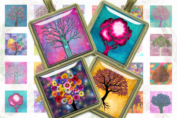 Tree of Life Colorful Trees Square Image Graphic Crafts By denysdigitalshop