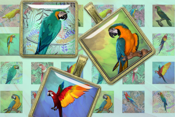 Tropical Parrots 2x2, 1.5x1.5, 1x1 Inch Graphic Crafts By denysdigitalshop