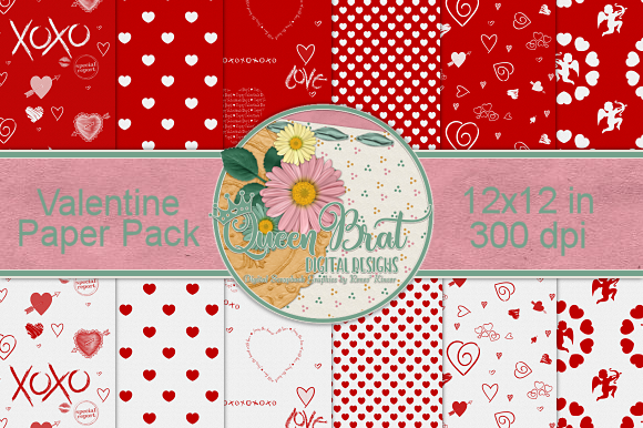 Print on Demand: Valentine Paper Pack Gráfico Fondos Por QueenBrat Digital Designs