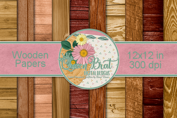 Print on Demand: Wooden Paper Pack Graphic Backgrounds By QueenBrat Digital Designs