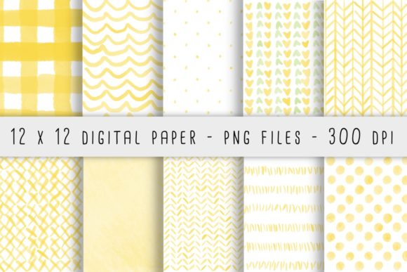 Print on Demand: Yellow Watercolor Patterns Grafik Hintegründe von RoughDraftDesign