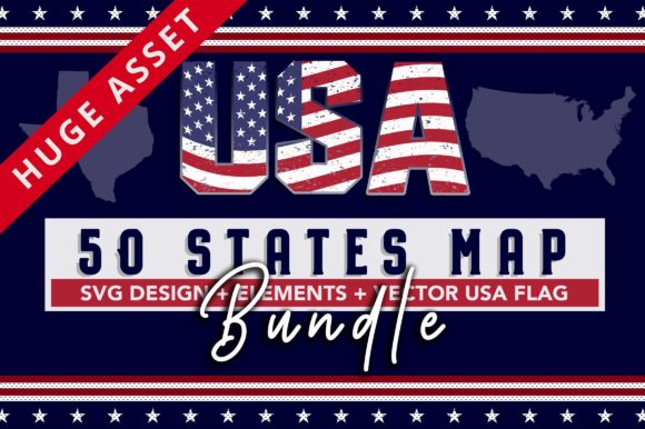 Download Free 4th July 50 Usa States Map Design Graphic By Subornastudio for Cricut Explore, Silhouette and other cutting machines.