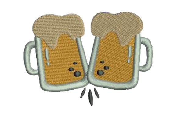Beerglasses Cheering Wine & Drinks Embroidery Design By Embroidery Designs