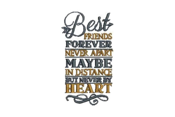 Best Friends Forever Never Apart Friends Embroidery Design By Embroidery Designs - Image 1