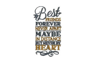 Best Friends Forever Never Apart Friends Embroidery Design By Embroidery Designs