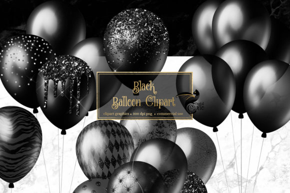 Black Balloons Clipart Graphic Illustrations By Digital Curio - Image 1