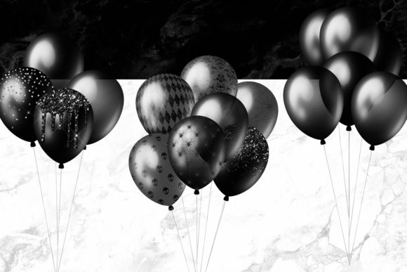 Black Balloons Clipart Graphic Illustrations By Digital Curio - Image 2