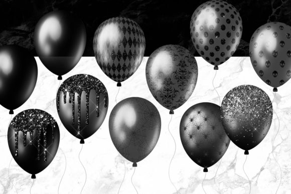 Black Balloons Clipart Graphic Illustrations By Digital Curio - Image 3
