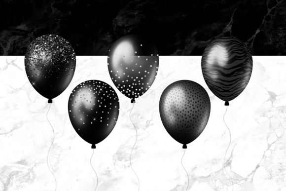 Black Balloons Clipart Graphic Illustrations By Digital Curio - Image 4