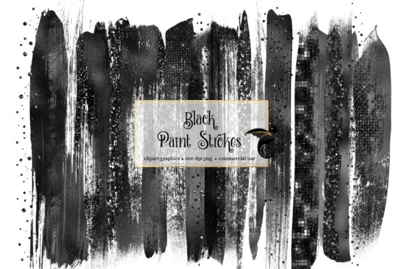 Black Brush Strokes Clipart Grafik Illustrationen von Digital Curio