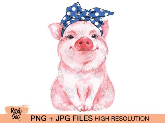 Print on Demand: Blue Bandana Pig, Sublimation Design Graphic Crafts By roxysvg26