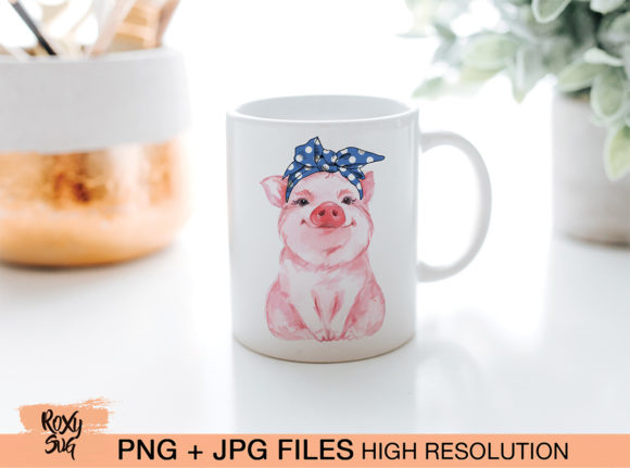 Print on Demand: Blue Bandana Pig, Sublimation Design Graphic Crafts By roxysvg26 - Image 3