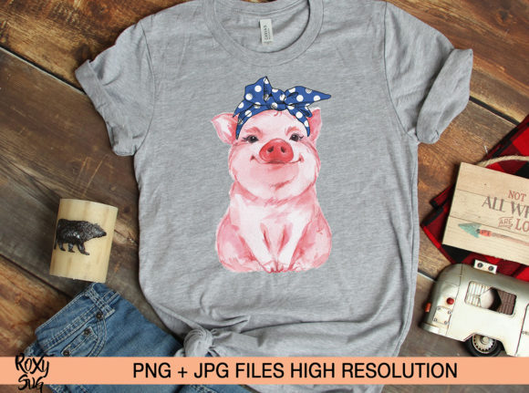 Print on Demand: Blue Bandana Pig, Sublimation Design Graphic Crafts By roxysvg26 - Image 4