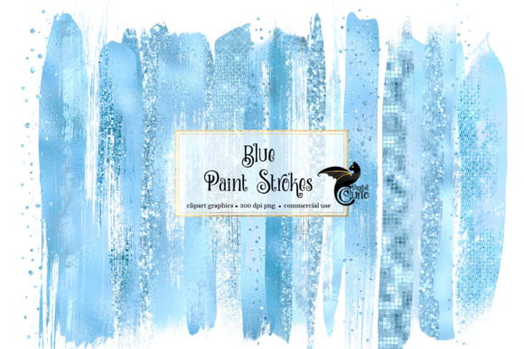 Blue Brush Strokes Clipart Graphic Illustrations By Digital Curio