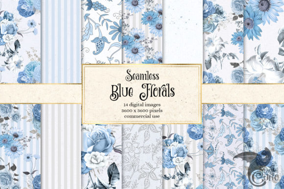 Blue Floral Digital Paper Graphic Patterns By Digital Curio